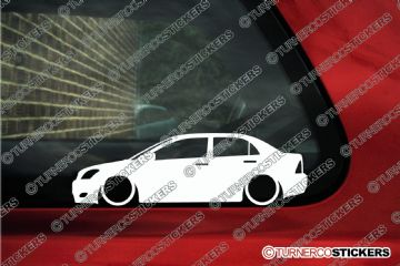 2x Low car outline stickers - Toyota Corolla e120 saloon (2000-2007)